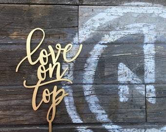 """Love on Top Wedding Cake Topper, 5.5"""" inches, Cute Unique Fun Laser Cut Toppers by Ngo Creations"""