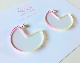 Ombre Pink and Yellow Notch Circle Hoop Earrings  - Bold Laser Cut Hand Dyed Dip Dyed Gradient Acrylic Perspex Geometric Earrings