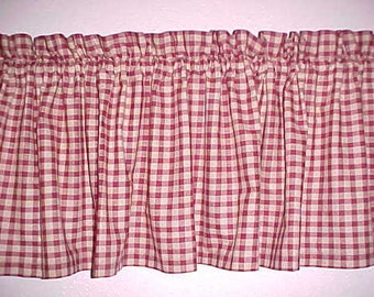 Country Primitive Burgundy Check Homespun Valance Custom Rustic Cottage Custom