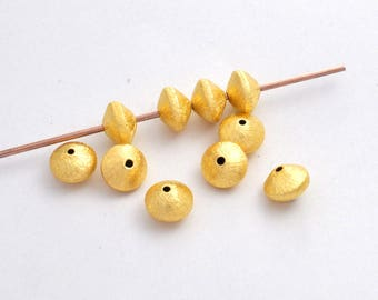8mm gold saucer beads, gold plated Bi cone beads, brushed gold beads, vermeil beads jewelry supplies, gold spacer beads, 22kt gold vermeil