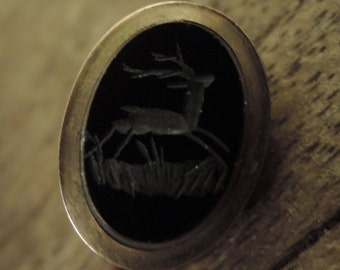 Neat Old Stag Intaglio Stick Pin c1950s