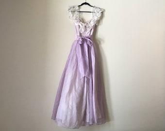 Gunne Sax Maxi Dress | 70s vintage pastel goth prairie style off shoulder cream lace sheer PASTEL lilac lavender formal dance prom dress