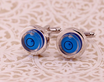 BLUE Working Round Level Awe Cufflinks Cuff links
