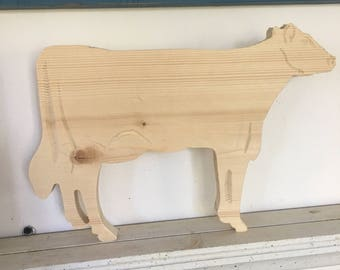 Unfinished cow cuotut Sign,cow wood plaque,bovine plaque, unfinished animal plaques 5hx9w