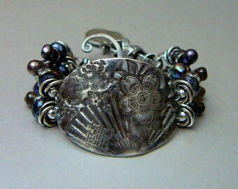 See HOliday Coupon Code - Asian Buckle Bracelet with Fine and Sterling Silvers, Freshwater Pearls, Black Spinel and Charm