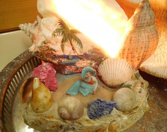 Kitchy Lighted Sea Shell Art