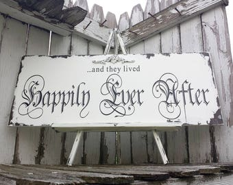 and they lived Happily Ever After Sign | Rustic Wedding Decor | Vintage Wedding | Just Married Wedding Gift | Gothic Wedding Decor | Wooden