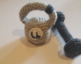 Baby kettlebell and dumbbell rattle set