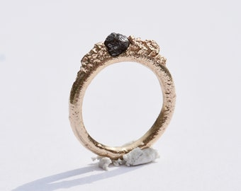 Black Diamond Sand Cast Ring 9ct Yellow gold