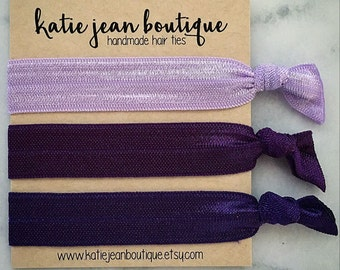 """Elastic Hair Ties - The """"Violet"""" Collection"""