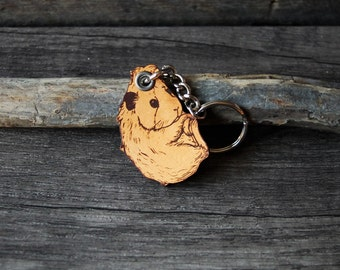 Guinea pig - genuine leather keychain