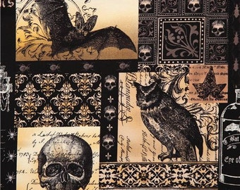 173823 black skull fabric by Michael Miller owl bat
