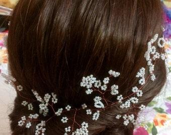 Wedding Hair Vine, Plait Vine,Crown, Halo,  Tiara, Brown Wire, floating Hair vine, Gypsophila , babys breath, Flowergirl, 10 or 20 inches,