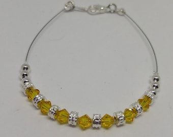 Light Topaz Swarovski Crystal Anklet