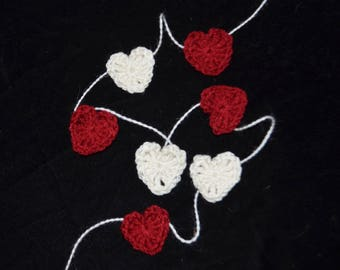 Red and White Crochet Heart Garland/ Valentine's Decoration