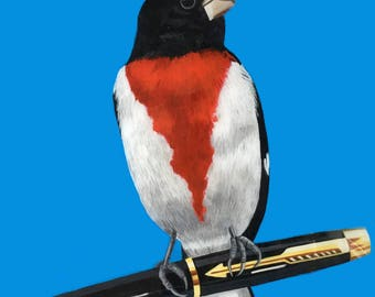 Red Breasted Grosbeak Bird Painting, Red Breasted Grosbeak Painting , Bird Painting with Blue, One of a Kind Painting