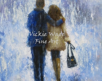 Lovers Art Print, rain, no umbrella, loving couple, walking in rain, blue, tan, couple in rain, anniversary gift, wall art,  Vickie Wade Art
