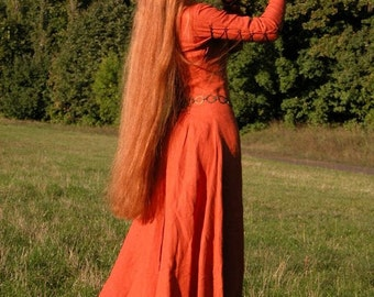 """In Stock! Ready to ship! Fixed Sizes! Medieval Long Linen Dress Tunic """"Red Elise"""""""
