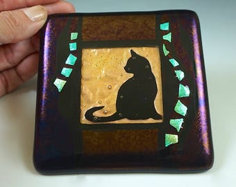 Black Cat Wall Tile, Cat Tile, Copper, Gold, Fused Glass, Turquoise Dichroic Accents - kiln-formed, handmade