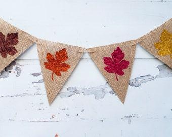 Fall Leaves Banner, Autumn Leaves Banner, Fall Decor, Autumn Decor Thanksgiving Decor, Thanksgiving Burlap Banner, B093