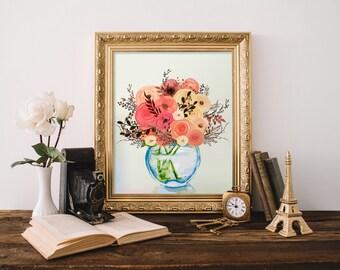 Fall Flowers Art Prints, Peach Bouquet Floral Wall Decor, Autumn Printable, Autumn Decorations, Coral Flower Bouquet, Still Life Art Prints