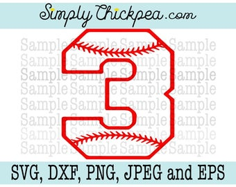 SVG, DXF, cutting file, Eps, Jpeg - Baseball Varsity Number Three - 3- Perfect for Birthdays and Jerseys - Silhouette Cameo - Cricut