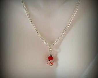 Peppermint Candy Pendant Necklace - Silver Chain - Red and White Pendant