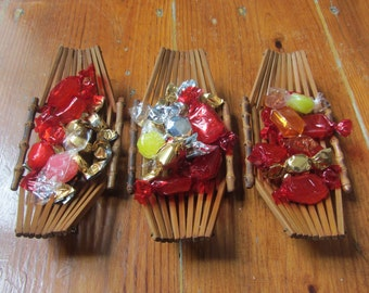Vintage Bamboo Set of Three Small Boat Trays - 1960s