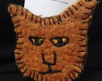 Butch the Cat embroidered brooch