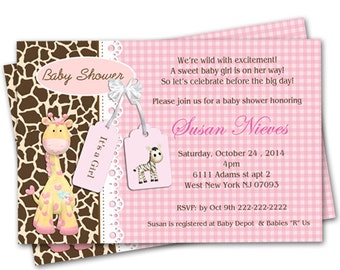 Pink Giraffe Personalized Baby Shower Invitation - Digital file