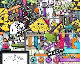 Scrappy Science Digital Scrapbook Kit.  Science Themed Scrapbook Kit, Digital Papers, Clip Art, Word Tags and More. **INSTANT DOWNLOAD***