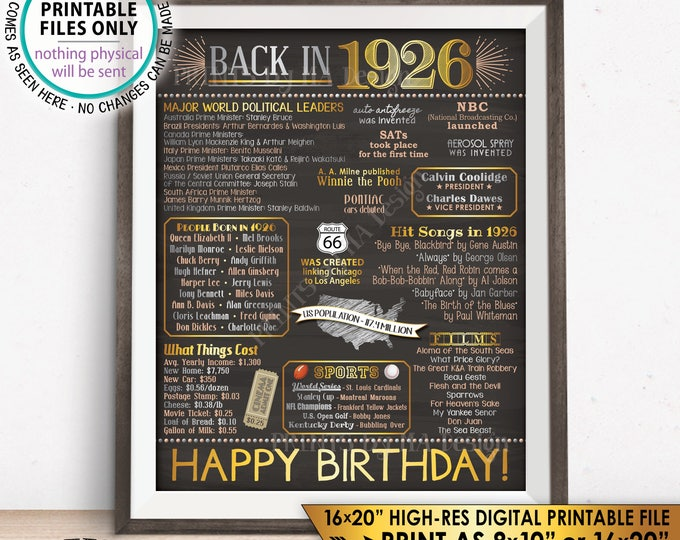 "Born in 1926 Flashback Poster, 92nd Birthday Flashback to 1926, Back in 1926 Birthday Party, Chalkboard Style PRINTABLE 16x20"" Sign <ID>"
