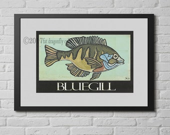 Bluegill fish print. Bluegill fish wall art. Fish poster. Fish home decor. Sportsman art. Gift for fisherman. Fisherman art. Shanni Welsh