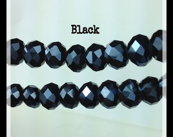 8mm Faceted Rondelle Crystal Beads, Luster Plated, Black, Glass Beads