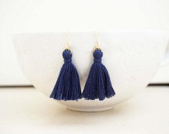 Navy Blue and Gold Tassel Earrings