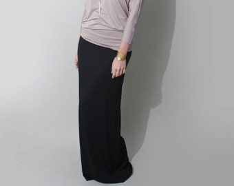 Tall Length Maxi Skirt | Black Maxi | Long Length Maxi | Women's Floor Length Skirts | Made in our loft | L415&Co Clothing (#415-100)