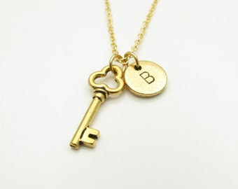 Key Necklace, Gold Skeleton Key Charm, Initial Necklace, Personalized Stamped Initial Letter, Vintage Style Key, Monogram Necklace Z045