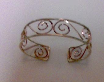 Vintage Harper Krementz Rose Yellow Gold Filled Scroll Cuff Bracelet