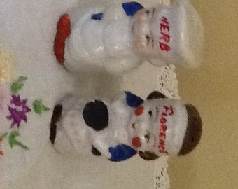 """Vintage Adorable Chef and Cook Porcelain Salt and Pepper Shakers 2"""" tall Marked Japan"""