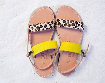 Leather sandals  red yellow .handmade Greek product APOSTASY SANDALS