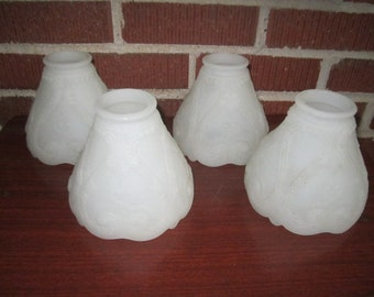 Antique Set of 4 Matching Heavy White Embossed Glass Chandelier Ceiling Light Shades