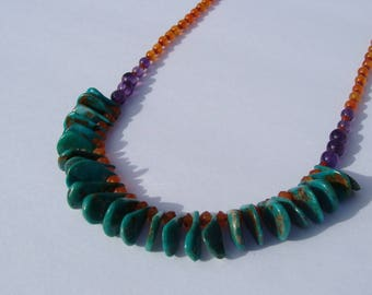 Turquoise Carnelian Beaded Necklace Handmade