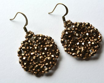 Antiqued Brass Dark Gold Beadweaving Earrings