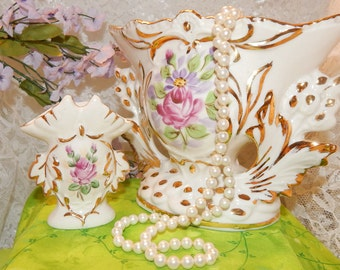 Vintage Matching Set of Weisley China Hand painted Vases , Pink Rose with 24K Gold detail work , Handled vase  Fan shape Antique Collectible