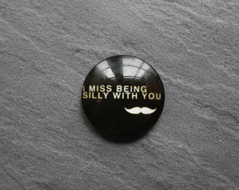 Cabochon 25 mm glass white and black mustache theme