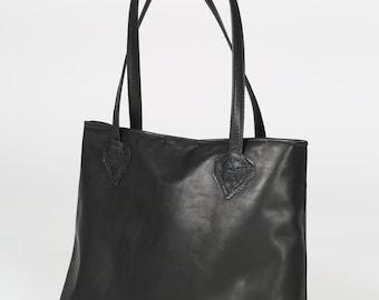 Handmade Tote leather bag, Shoulder bag, Leather bag for woman, Shopper bag, Unlined, Black color