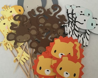 Jungle Animals Cupcake Toppers, Baby Shower Cupcake Toppers, Baby Animals Cupcake Toppers