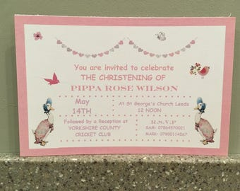 Personalised Beatrix Potter Invitations with envelopes - baptism, baby shower, namInvitations ceremony, birthday .