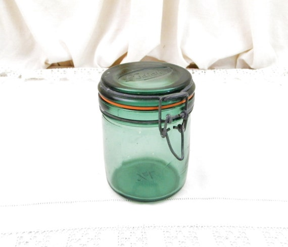 Vintage French Green Glass Canning Jar 0.5 Liter / 0.13 Gallon L'Ideale with New Rubber Seal, Country Cottage Kitchen Decor, Mason Preserve