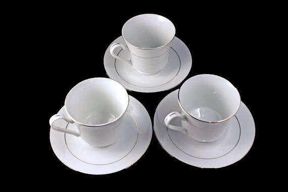 Teacups and Saucers, Potter & Smith, White and Gold, Set of 3, Fine China